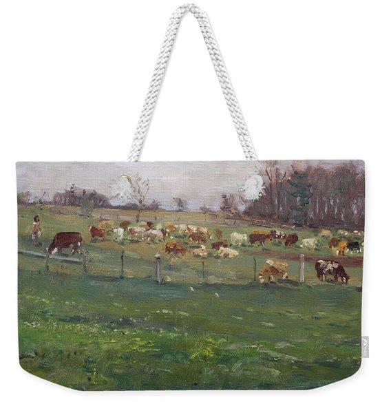Cows In A Farm, Georgetown  Weekender Tote Bag