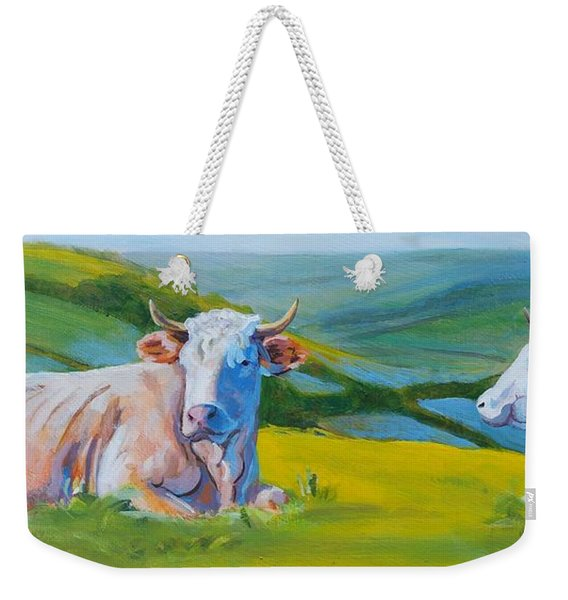 Cows Lying Down In Devon Hills Weekender Tote Bag
