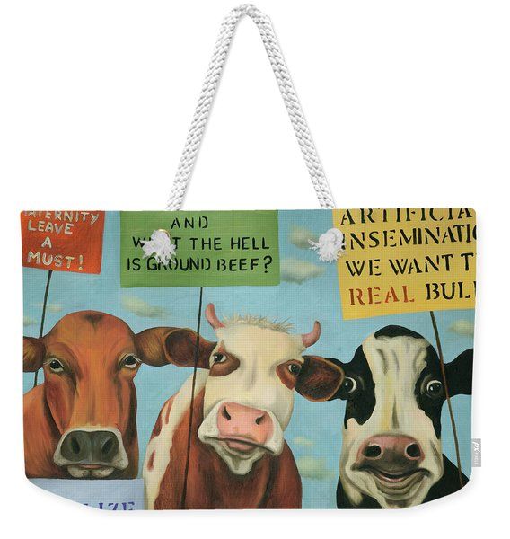 Cows On Strike Weekender Tote Bag
