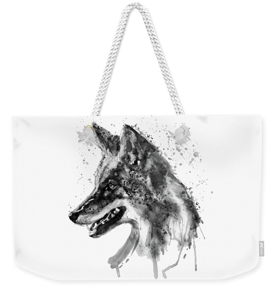 Coyote Head Black And White Weekender Tote Bag