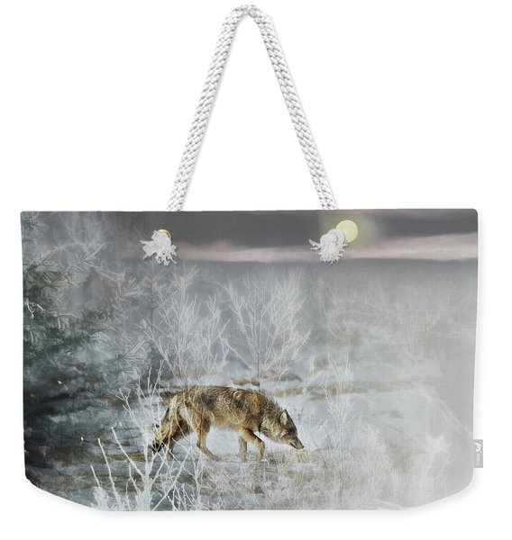 Coyote On A Winter Night Weekender Tote Bag