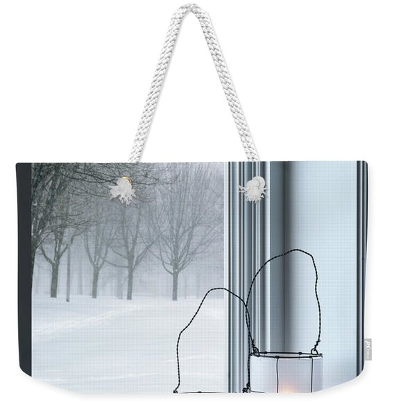 Cozy Lanterns And Winter Landscape Seen Through The Window Weekender Tote Bag