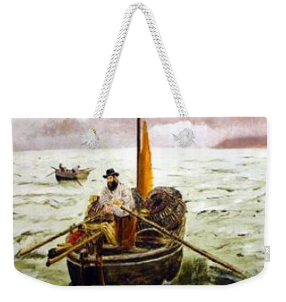 Weekender Tote Bag featuring the painting Crab Fisherman by Richard Le Page
