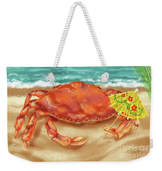 Crab With Cocktail Umbrella Weekender Tote Bag