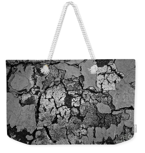 Cracked Paint Abstract Bw Weekender Tote Bag