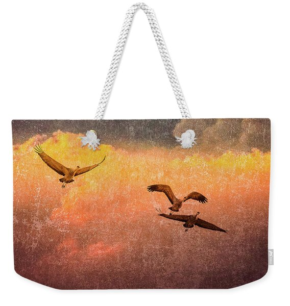 Cranes Lifting Into The Sky Weekender Tote Bag