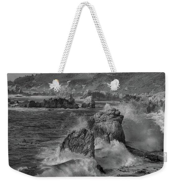 Crashing Waves Big Sur Ca Bw Weekender Tote Bag