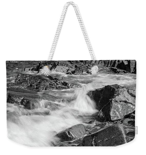Crashing Waves, Portland Head Light, Cape Elizabeth, Maine  -5605 Weekender Tote Bag