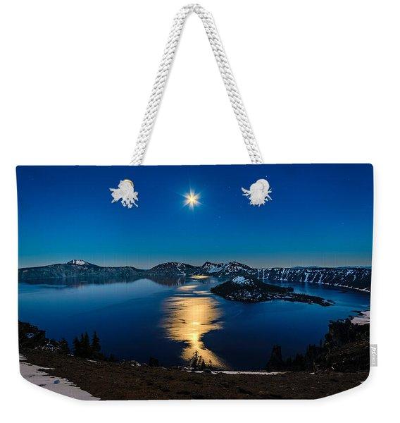 Crater Lake Moonlight Weekender Tote Bag