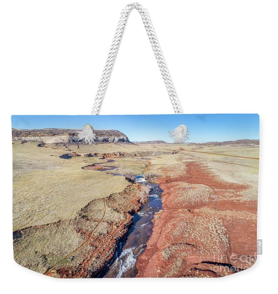 creek at  Colorado foothills - aerial view Weekender Tote Bag