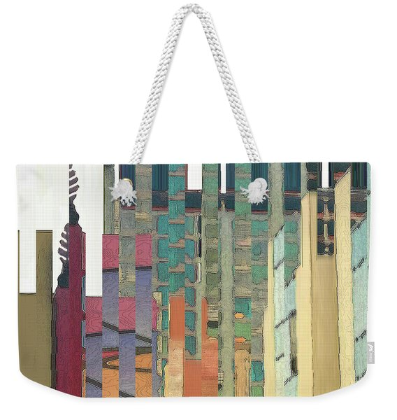Weekender Tote Bag featuring the digital art Crenellations by Gina Harrison
