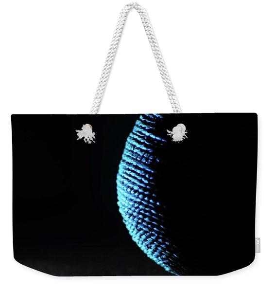 Weekender Tote Bag featuring the photograph Crescent Ball In Cyan by Scott Cordell