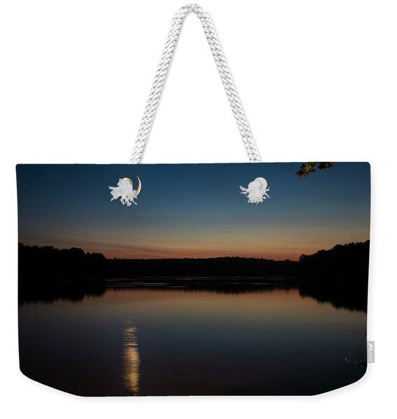 Crescent Moon Set At Lake Chesdin Weekender Tote Bag