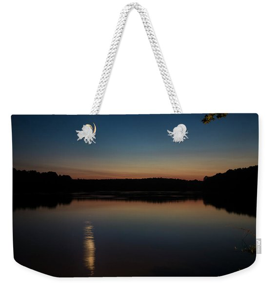 Weekender Tote Bag featuring the photograph Crescent Moon Set At Lake Chesdin by Jemmy Archer