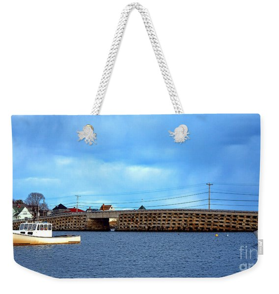Cribstone Bridge And Boats On Bailey Island Weekender Tote Bag