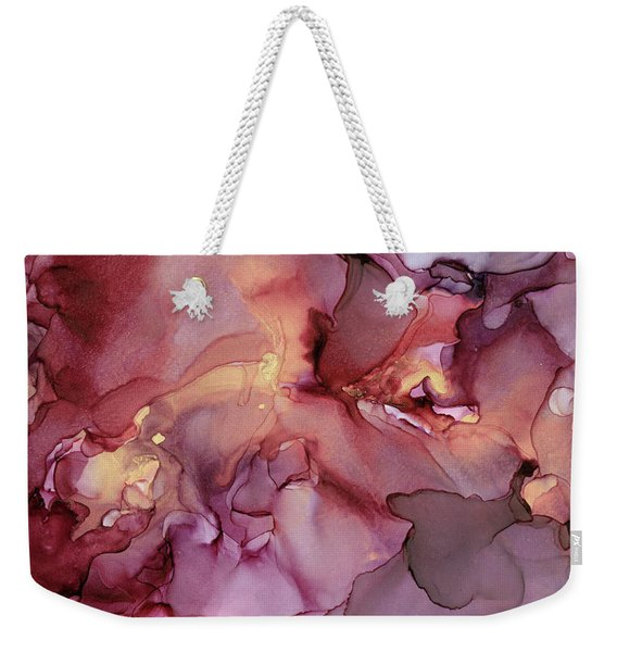 Crimson And Gold Abstract Ink Painting Weekender Tote Bag