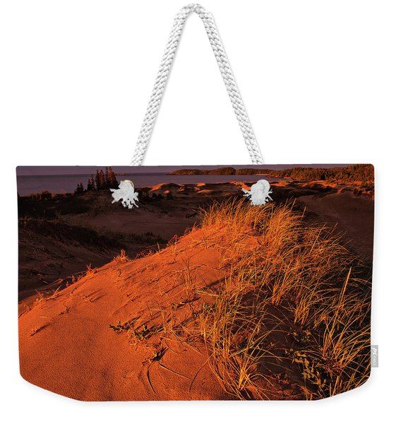 Weekender Tote Bag featuring the photograph Crimson Dunes by Doug Gibbons