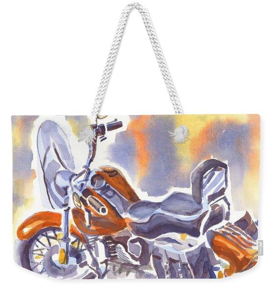 Crimson Motorcycle In Watercolor Weekender Tote Bag