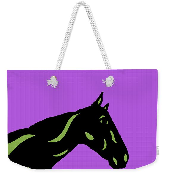 Crimson - Pop Art Horse - Black, Greenery, Purple Weekender Tote Bag