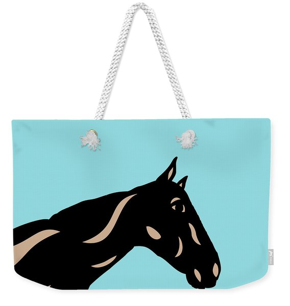 Crimson - Pop Art Horse - Black, Hazelnut, Island Paradise Blue Weekender Tote Bag