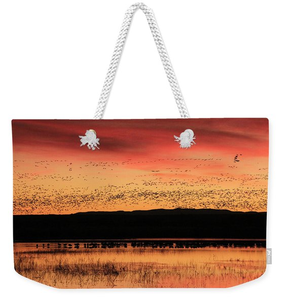 Crimson Sunset At Bosque Weekender Tote Bag