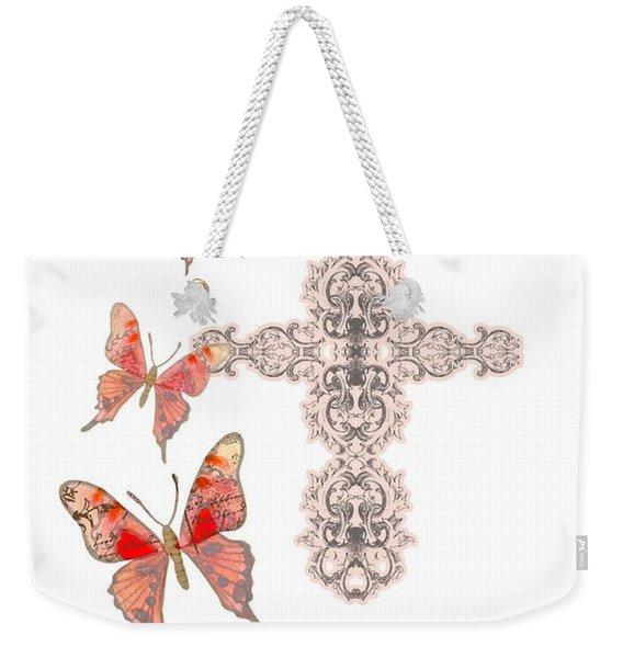 Cross Born Again Christian Inspirational Butterfly Butterflies Weekender Tote Bag