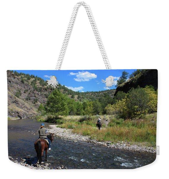 Crossing The Gila On Horseback Weekender Tote Bag