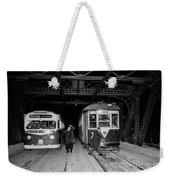 Crosstown Trolley Weekender Tote Bag