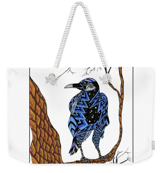 Weekender Tote Bag featuring the drawing Crow by Barbara McConoughey