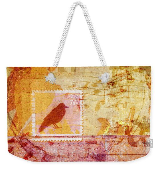 Crow In Orange And Pink Weekender Tote Bag