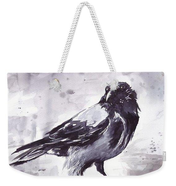 Crow Watercolor Weekender Tote Bag