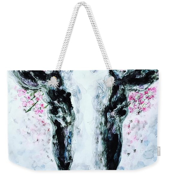 Crown Of Flowers Cow Weekender Tote Bag