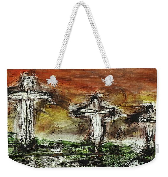 Weekender Tote Bag featuring the painting Crucifixion #2 by Michael Lucarelli