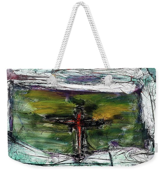 Weekender Tote Bag featuring the painting Crucifixion #3 by Michael Lucarelli