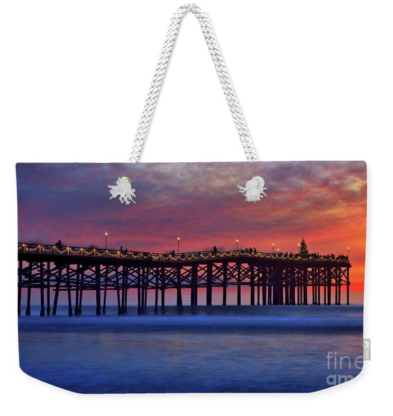 Weekender Tote Bag featuring the photograph Crystal Pier In Pacific Beach Decorated With Christmas Lights by Sam Antonio Photography