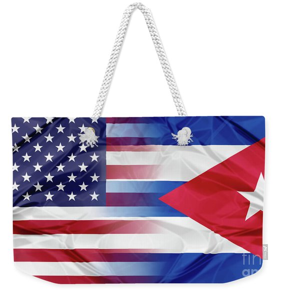 Cuba And Usa Flags Weekender Tote Bag