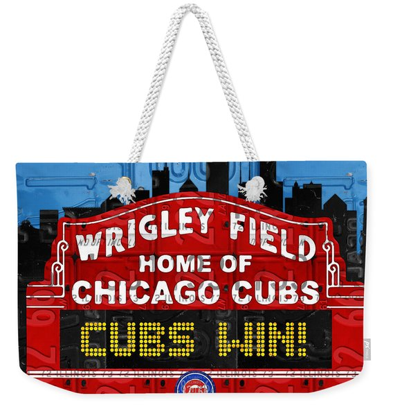 Cubs Win Wrigley Field Chicago Illinois Recycled Vintage License Plate Baseball Team Art Weekender Tote Bag