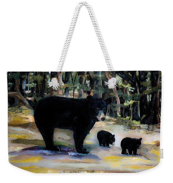 Cubs With Momma Bear - Dreamy Version - Black Bears Weekender Tote Bag