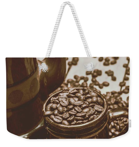 Cup And Teapot Filled With Roasted Coffee Beans Weekender Tote Bag