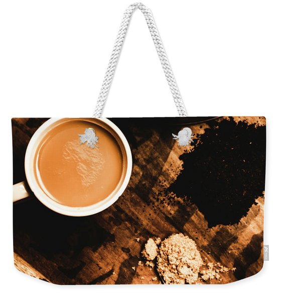 Cup Of Tea With Ingredients And Kettle On Wooden Table Weekender Tote Bag