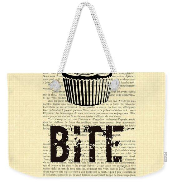 Cupcake Bite Me Typography Weekender Tote Bag