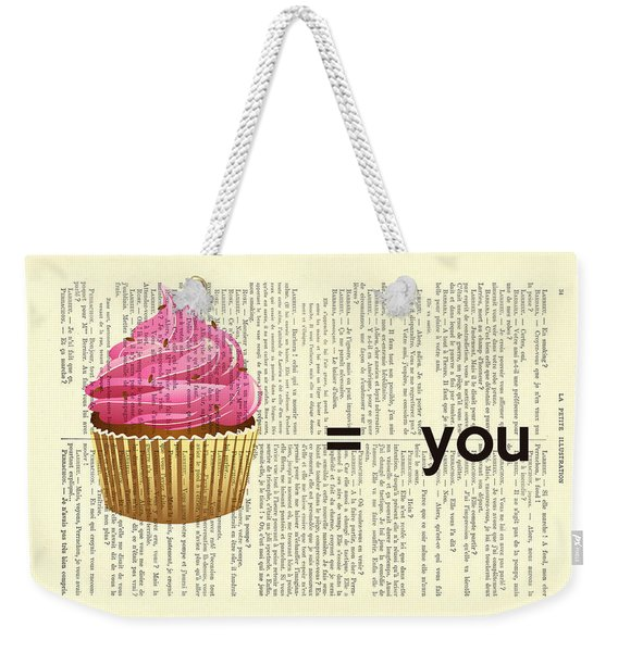 Pink Cupcake Equals You Print On Dictionary Paper Weekender Tote Bag