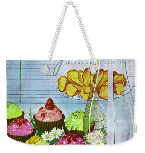 Cupcakes And Gaufrettes Beside A Candle Weekender Tote Bag