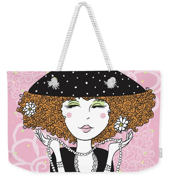 Curly Girl In Polka Dots Weekender Tote Bag
