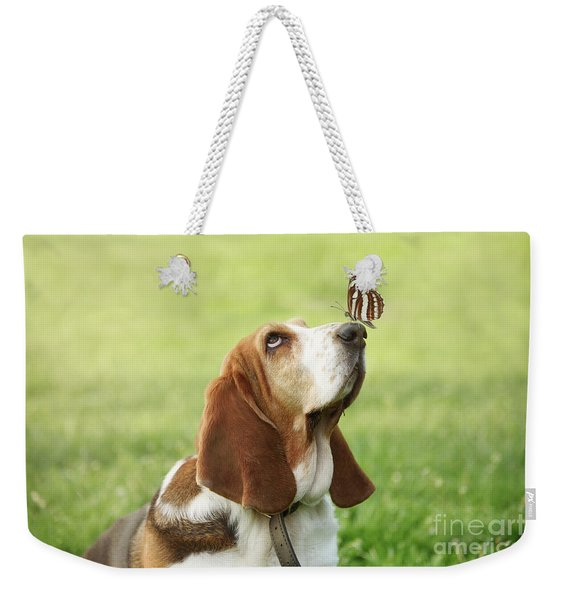 Cute Dog With Butterfly On His Nose Weekender Tote Bag