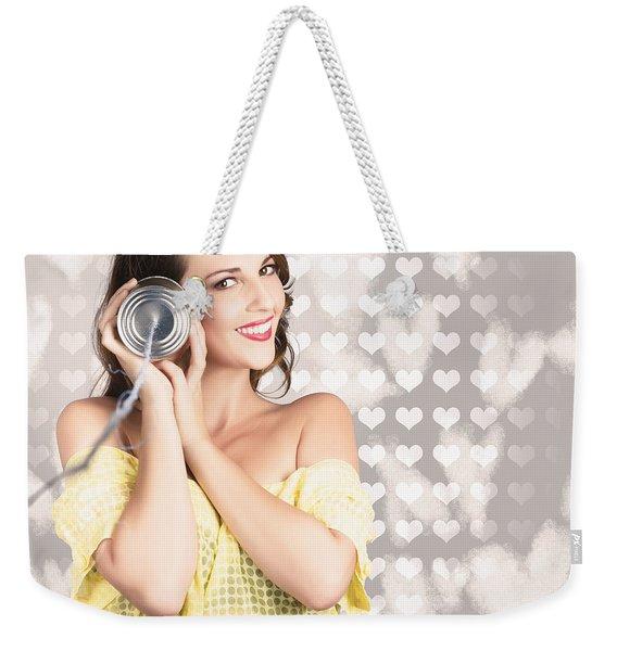 Cute Girlfriend Receiving Message Of Love Weekender Tote Bag