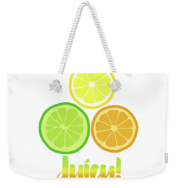 Cute Juicy Orange Lime Lemon Citrus Fun Art Weekender Tote Bag