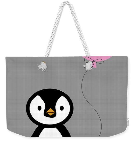 Cute Penguin With Balloon Weekender Tote Bag