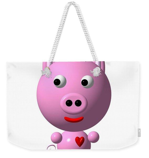 Cute Pink Pig With Purple Bow Weekender Tote Bag