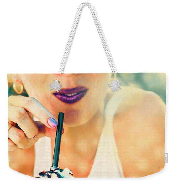 Cute Retro Girl Drinking Milkshake Weekender Tote Bag